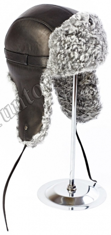 Шапка Ушанка каракуль серый